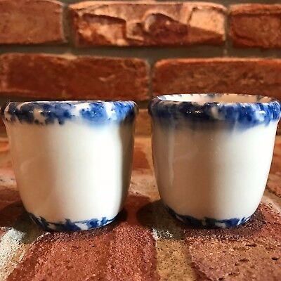 Lot of 2 Gerald Henn Pottery Candle Votive Cups White & Blue Spongeware Workshop