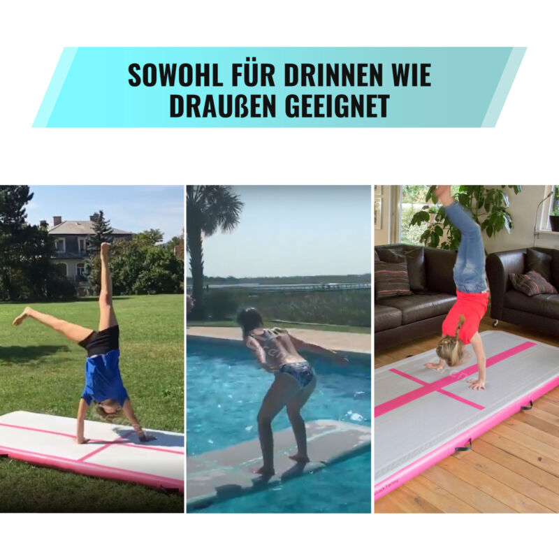 FBSPORT 3//4//5//6m Turnmatte Air Track Gymnastikmatte Tumbling Matte Aufblasbar DE