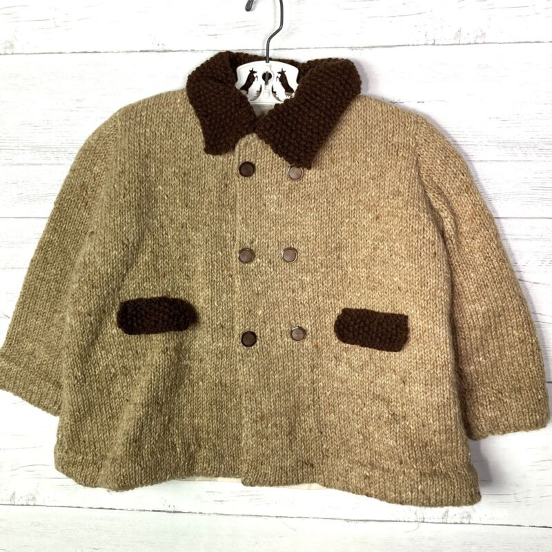 Vintage Handmade Knitted Wool Coat Toddler Boys Brown Lined Double Breasted