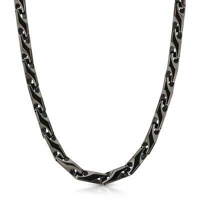 Tungsten Mens Necklace (Brand New Heavy 9 mm BLACK Tungsten Carbide Men's Biker Necklace - FREE)