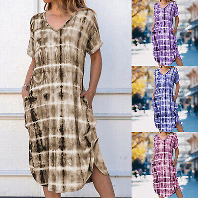 Plus Size Women Holiday Boho Printed Dress Loose Summer Beach Tunic Sundress
