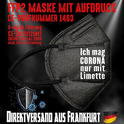 FFP2 Atemschutzmaske Mundschutz Mundmaske schwarz CE 1463 Corona mit Limette