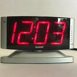 SHARP Digital Alarm Clock Large Red LED Display Swivel Base SPC033 Silver Tested