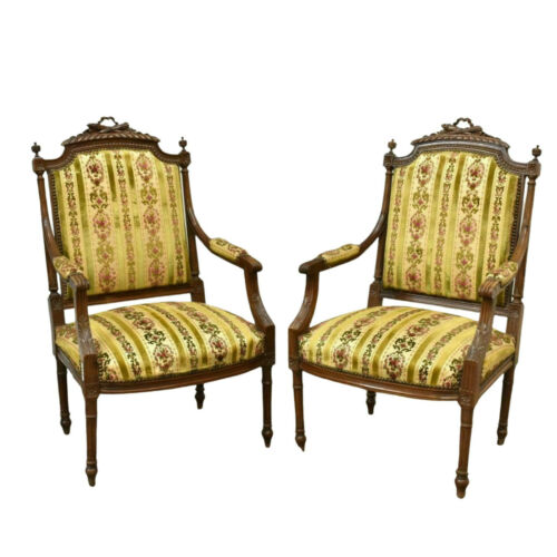 Armchairs, Louis XVI Style Carved, Upholstered, French Pair, Early 1900s