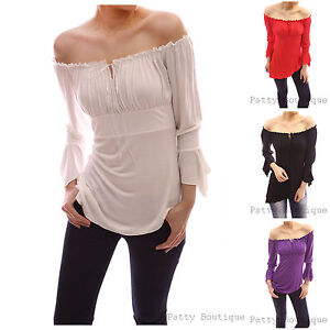 Cute-Off-Shoulder-Bell-Sleeve-Blouse-Tops-S-M-L-XL