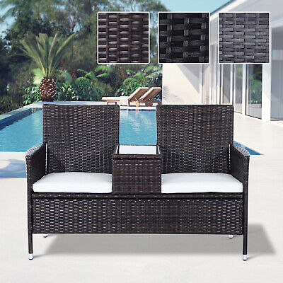 Garden Furniture - 2 Seater Rattan Chair Garden Furniture Wicker Patio Love Seat Outdoor With Table