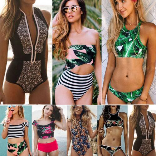 Damen Bikini Push-Up Tankini Bademode Badeanzug Schwimmanzug High Waist Strand