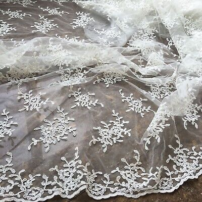 Marfil Bordado Vestido de Novia Tela en Flor Traje Bricolaje Encaje 0.5