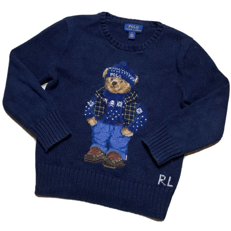 Vintage Youth Ralph Lauren Polo Bear Sweater Size 6 Navy Sport Embroidered