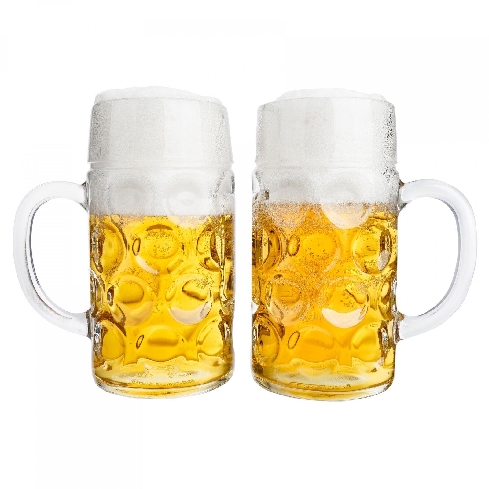 2er Set Maßkrug 1 L geeicht Bierkrug Glas Bierglas Glaskrug Maß Bier Maßkrüge