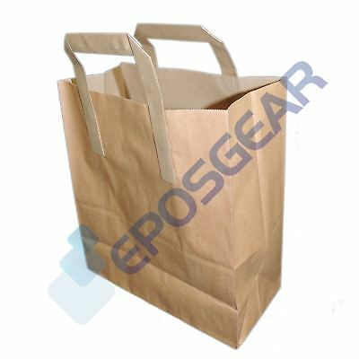 1000 Small Brown SOS Kraft Takeaway Food Party Gift Paper Handle Carrier Bags