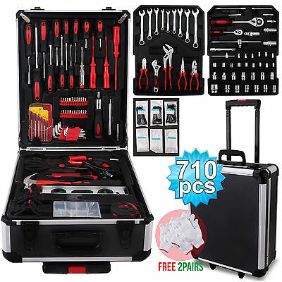 710 pcs Tool Set Standard Metric Mechanics Kit Case Box Organize Castors Trolley