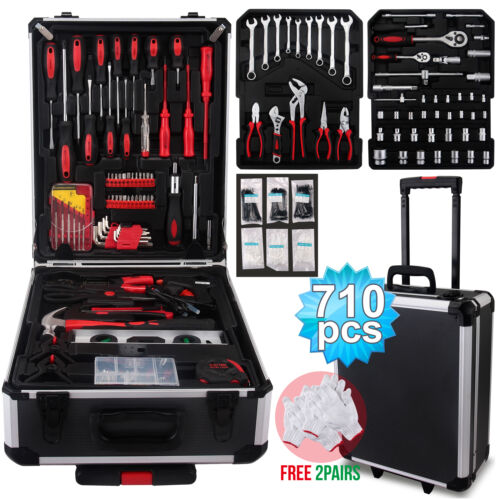 710 pcs Tool Set Standard Metric Mechanics Kit Case Box Orga