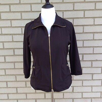 Zenergy by Chicos Womens Coat Jacket Black Pockets Stretch Zip Size 1 = Size 8