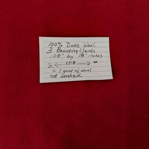 Aw GARNET RED 3 BRAIDING YARDS 108inX18in DORR 100% Wool Rug Hooking Applique