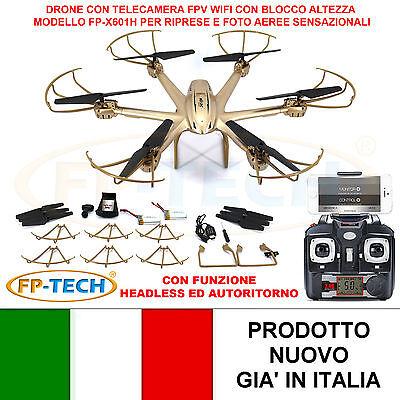 DRONE ESACOTTERO RADICOMANDATO HEADLESS WIFI FPV 3D CAMERA HD VIDEO FOT USB LED