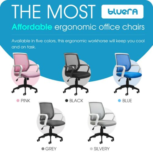 Mid-Back Mesh Ergonomic Office Chair Home Desk Executive Swivel Computer Chair