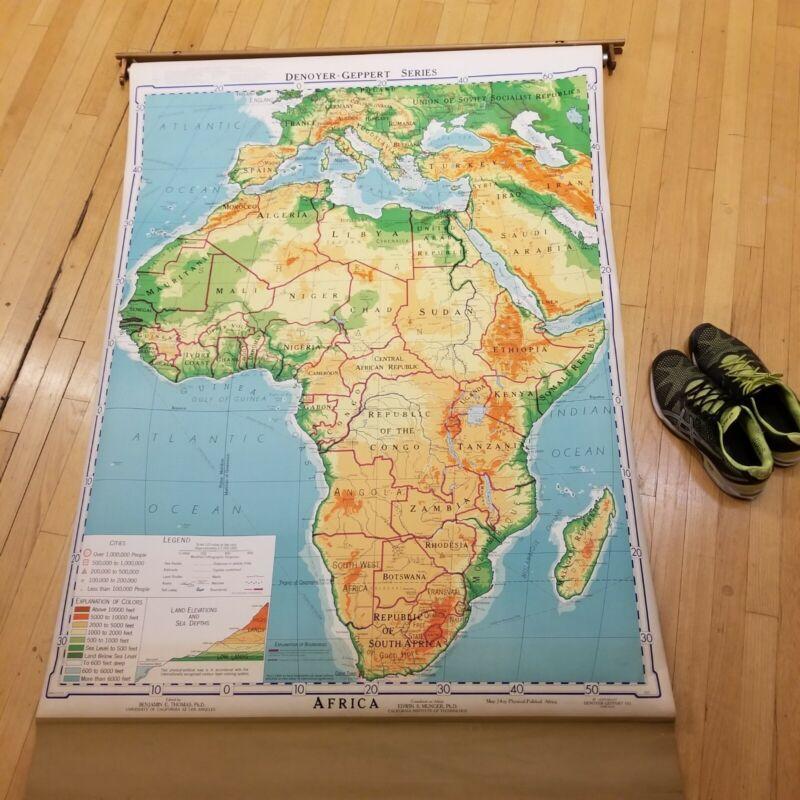 "Huge 1967 Map of Africa School pulldown map 64"" x 43"""