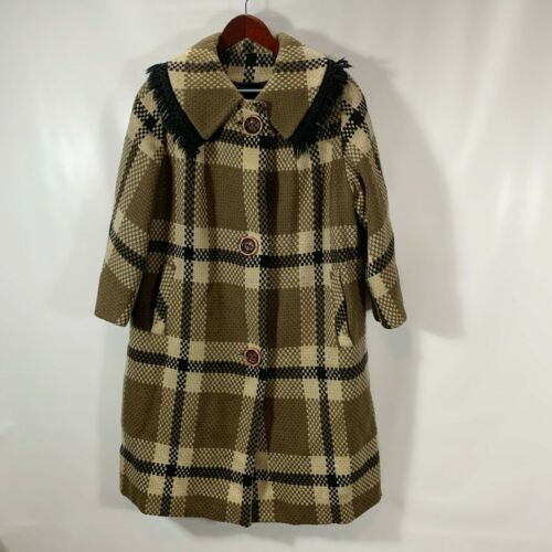 Womens Vintage Coat Button Front Lined Pockets Plaid No Tags Heavy Knit Jacket