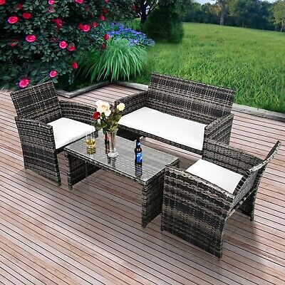 Patio Furniture Outdoor Wicker Rattan Sectional Sofa Set Cushioned Seat 4 PCS