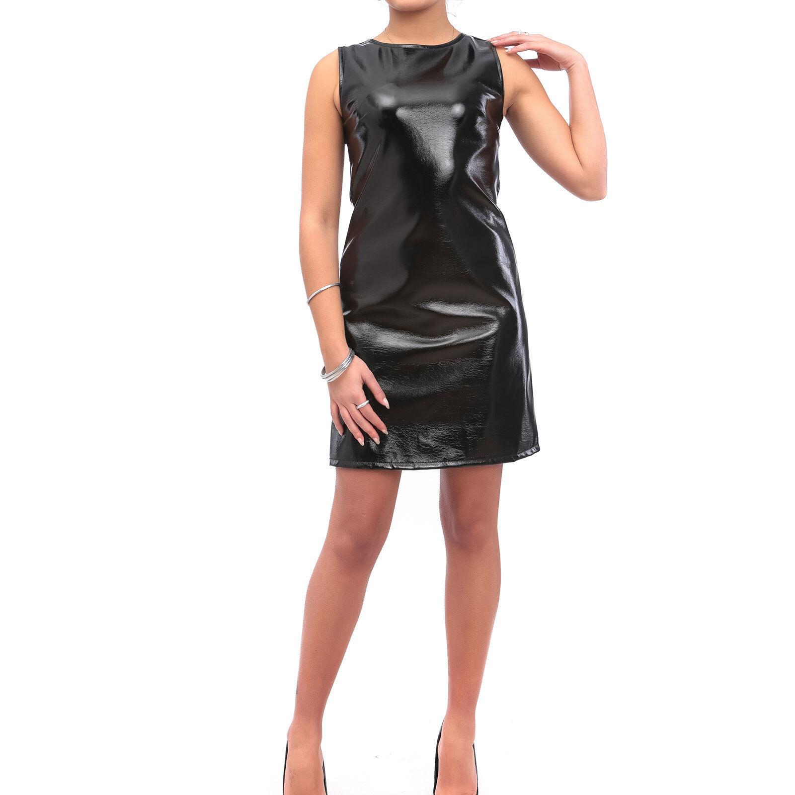 Vestito Donna Abito Corto Vinile Eco Pelle Lucida Latex Aderente ... 42d9c035ca7