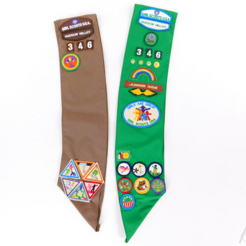 Vintage Girl Scout Brownie and Junior Sashes with Patches Pins