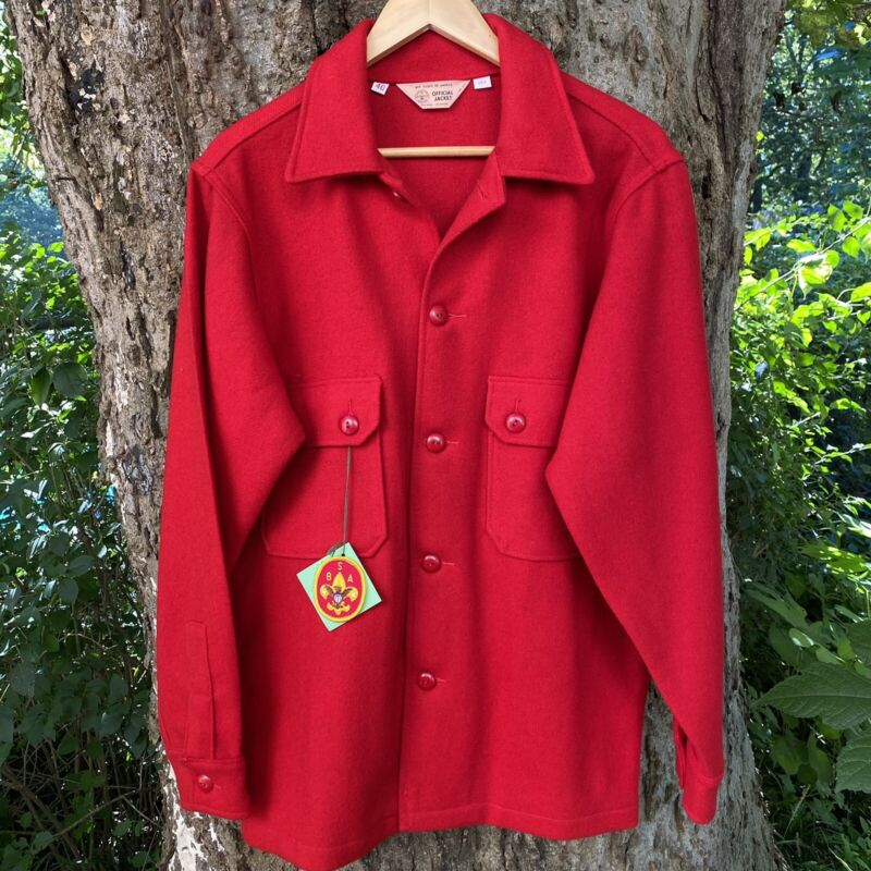 Vintage Official BSA Boy Scouts Of America USA Jacket Coat Red Wool Size 40 Rare
