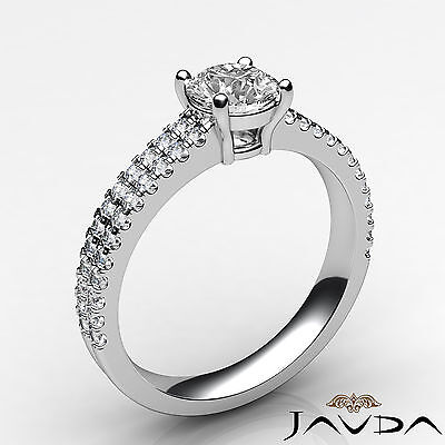 2 Row Shank French U Pave Round Diamond Engagement Ring GIA I Color VS2 1.21 Ct 1