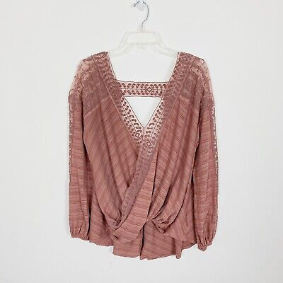 Free People L Washed Rose Lace Valley City Sheer-trim Lace Long Sleeve Wrap Top