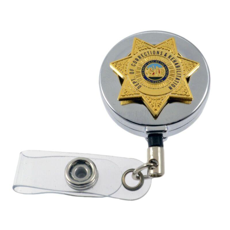 CDCR California Corrections Mini Badge Reel Retractable ID Card Holder Chrome