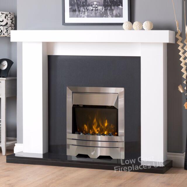 Electric white black wall surround silver fire fireplace suite large electric white black wall surround silver fire fireplace suite large lights 54 teraionfo