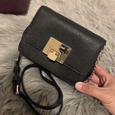 Michael Kors Tina Black Saffiano Leather XSmall Clutch Crossbody Bag MK $228