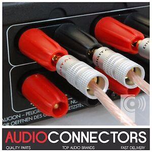 4 x Hi-Fi 4mm BFA-Z Banana Plugs Speaker & Amplifier cable connectors (BZ2)