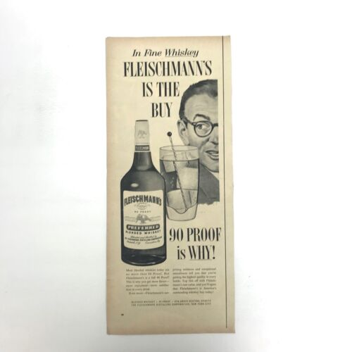 Fleischmanns Whiskey Magazine Print Ad Vintage Liquor Alcohol Man 1950s Original