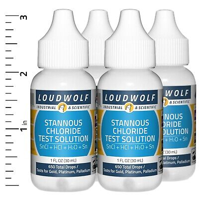 Gold Test Solution Stannous Chloride Long-lasting 4 Oz 4 Bottles Usa Seller