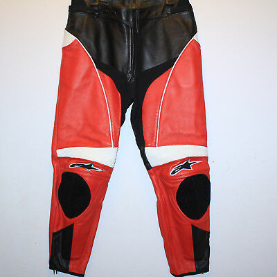 GORGEOUS Alpinestars Leather Track Pants RED / BLACK / WHITE  Sz 38  MINT COND. Alpinestars Track Pants