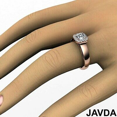 Asscher Diamond Engagement GIA H VVS2 18k White Gold Halo Pave Set Ring 0.7Ct 11