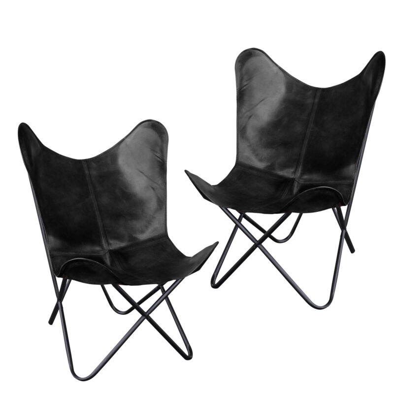 AmeriHome BFCLCBLK2 Natural Leather Butterfly Chair in Black, 2 Piece Set