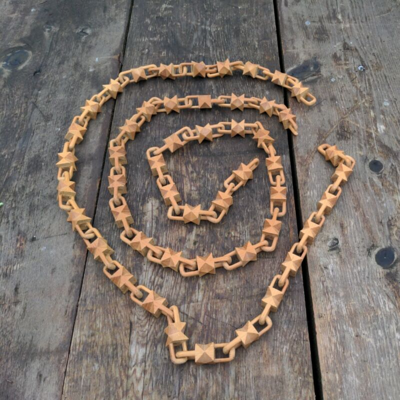 "Unique Hand Carved Wood Chains 100"" chain"