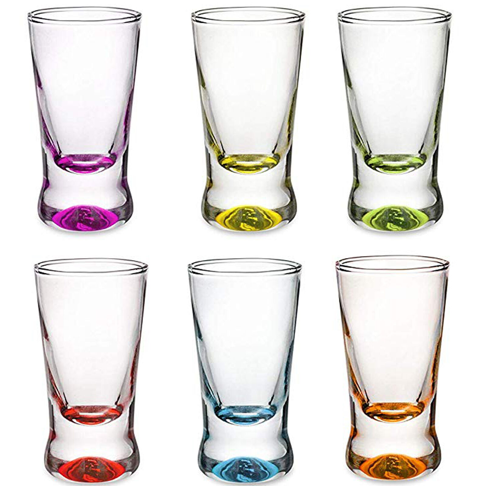 Shotgläser Set 6 Teilig bunt Schnapsgläser 2,5cl Wodkagläser Pinnchen aus Glas