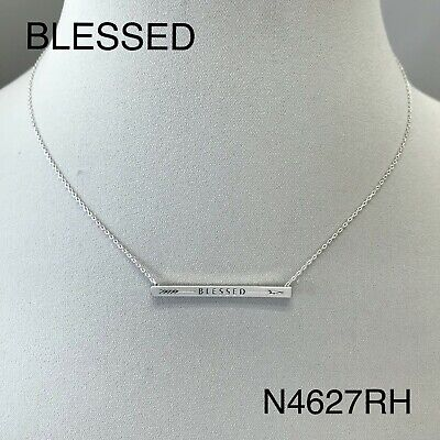 White Gold Dipped BLESSED Arrow Engraved Bar Shape Dainty Pendant (Engraved Gold Necklace)