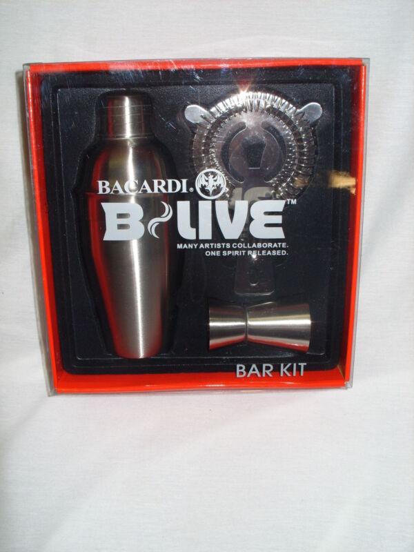BACARDI B-LIVE - 3-PIECE PROMO COCKTAIL SHAKER BARWARE KIT *NEW*