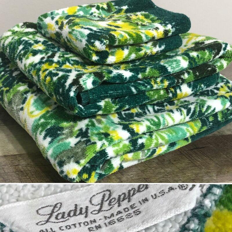 Vintage Lady Pepperell 3pc Towel Set Bath Towel Hand & Washcloth Cotton USA