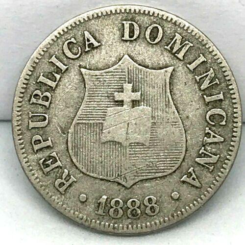 1888-A Dominican Republic 2-1/2 Centavos Silver Coin - Rare. KM# 7.3