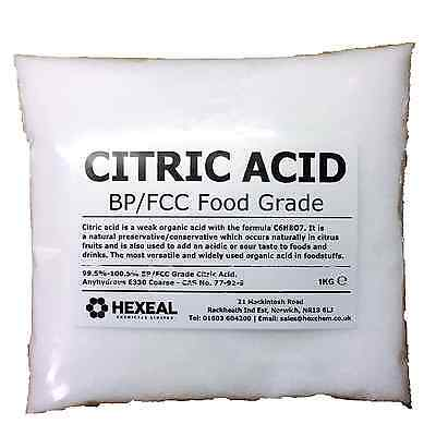 CITRIC ACID   1KG BAG   100% Anhydrous   Fine   GMO Free   BP/FCC Food Grade