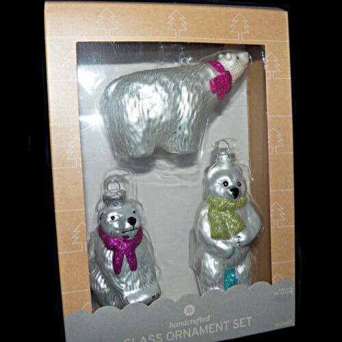 Handcrafted Blown Glass Christmas Ornament Set of 3 Polar Ice Arctic Bears