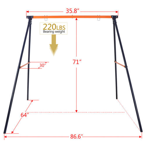 Heavy Duty Porch Swing Frame Stand Set + 40″Large Saucer Tree Swing Safe for Kid Outdoor Toys & Structures