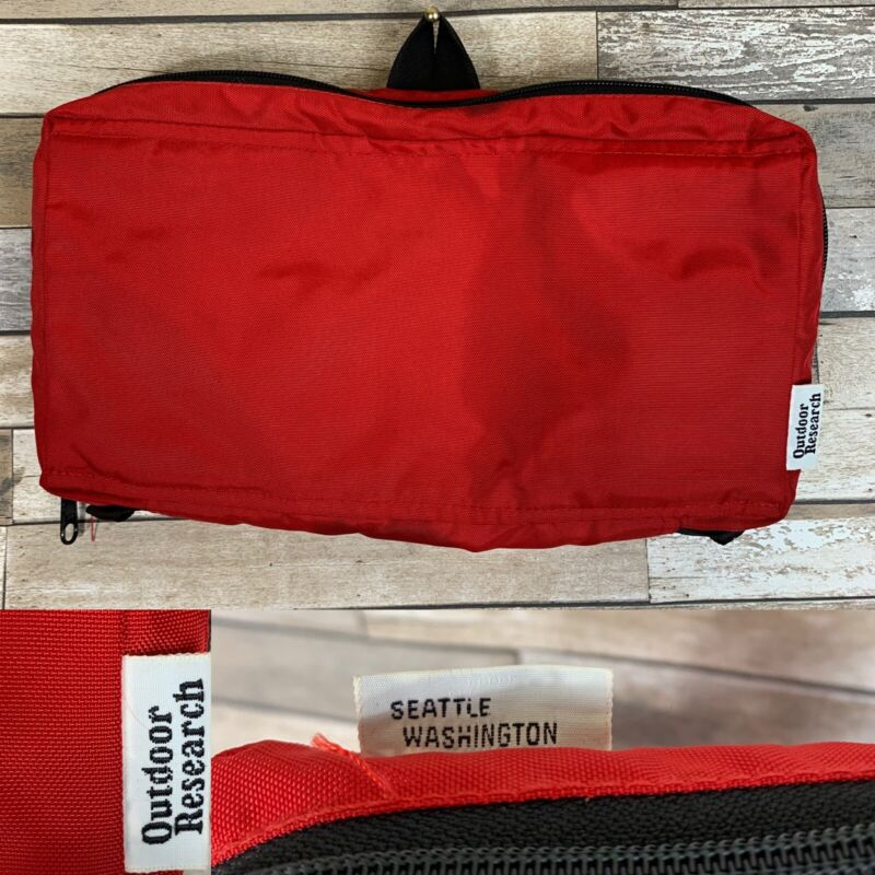 Vtg 1980s Outdoor Research Red Toiletries Pack Hiking Camping + Vtg Items Inside