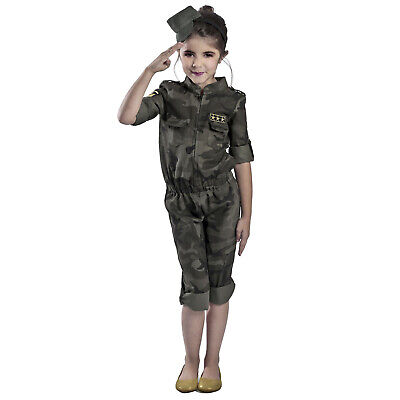 Child Girl's Army Military Halloween Costume Camouflage Jumpsuit Hat - Camo Girl Costume