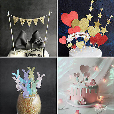 Cake Cupcake Topper Happy Birthday Wedding Easter Anniversary Baby Party Decor